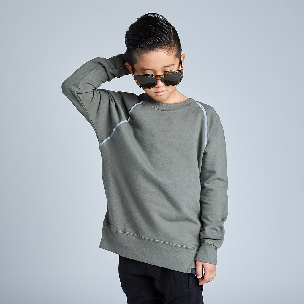 Side Zip Sweatshirt in Military Green