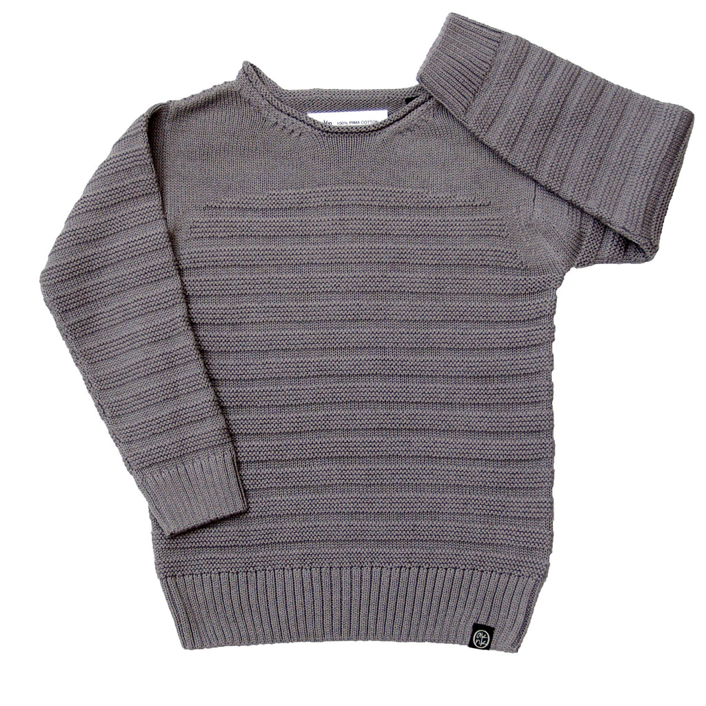 Textured Stripe Sweater in Grey