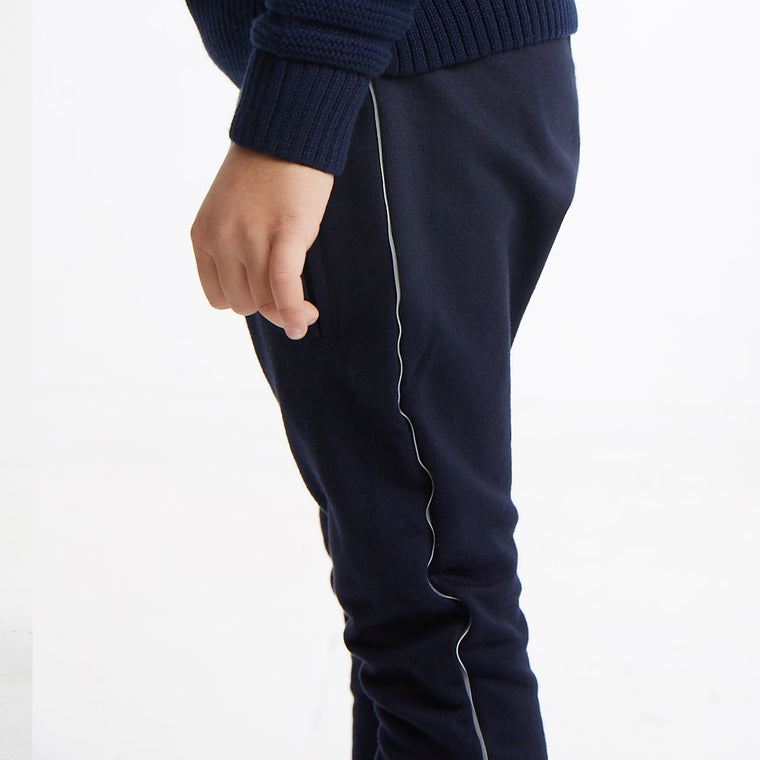 Dropped Crotch Jogger with Reflective Side Stripe in Navy