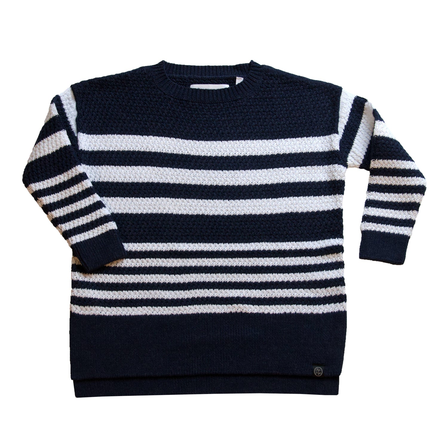 Dropped Shoulder Oversized Striped Sweater in Navy