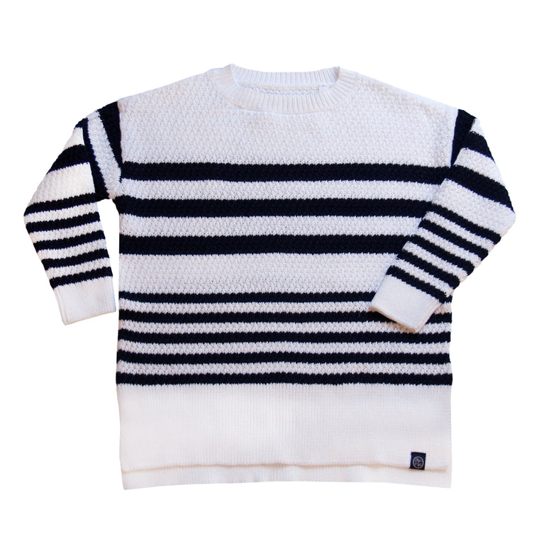Dropped Shoulder Oversized Striped Sweater in White