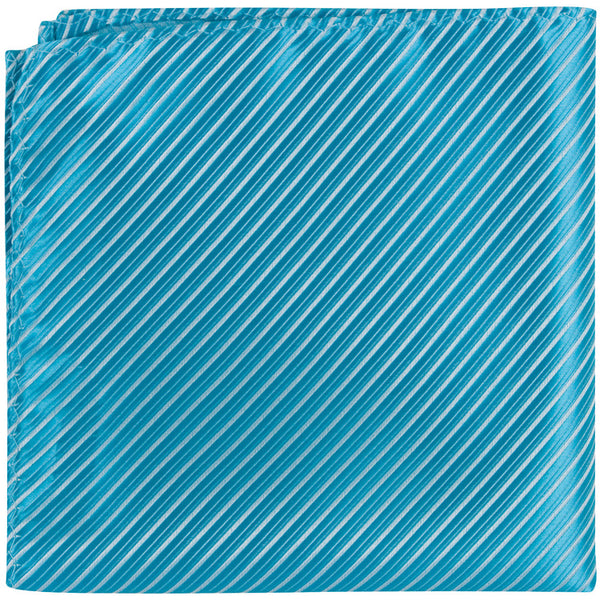 B18 PS - Turquoise Pinstripe - Matching Pocket Square