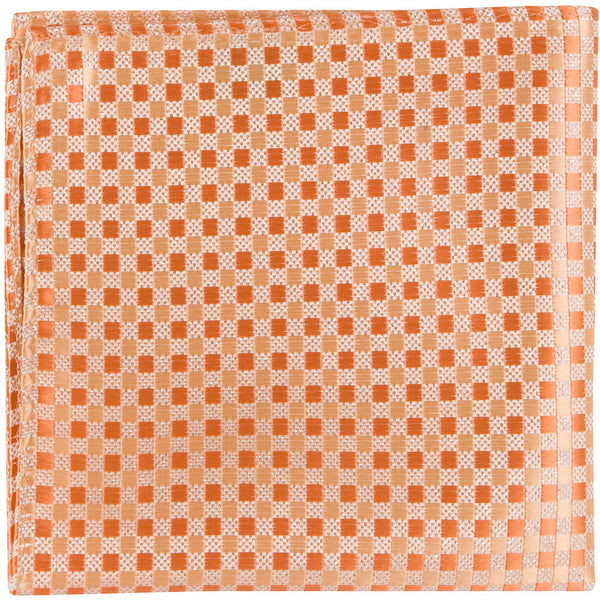 O6 PS - Orange/Silver Gingham - Matching Pocket Square