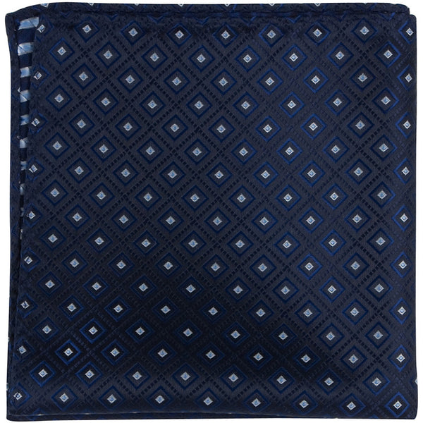 B9 PS - Navy with squares - Matching Pocket Square