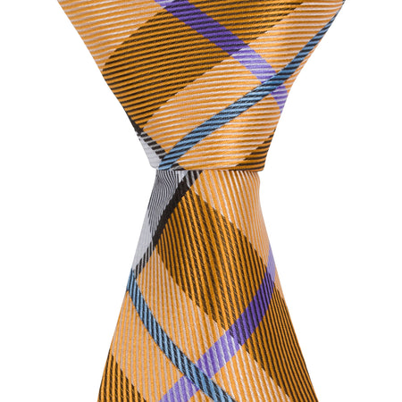 ST16 - Skinny Green/White/Tan Plaid Neck Tie