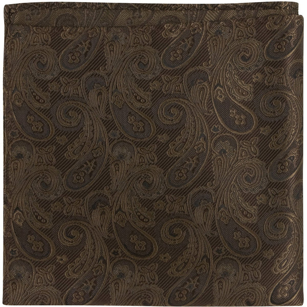 N4 PS - Brown Paisley - Matching Pocket Square