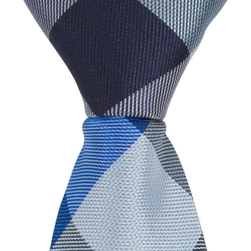 ST3 - Skinny Tie 3 Shades of Blue Diamond Plaid