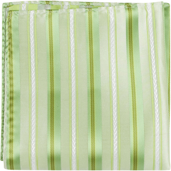 G1 PS - Green with green and white stripes - Matching Pocket Square