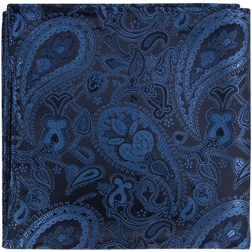 B19 PS - Navy Blue Paisley - Matching Pocket Square
