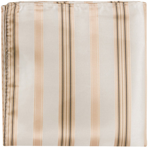 N5 PS - Cream with Tan/Brown Stripes - Pocket Square