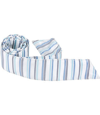 B8-HT - White Tie with Blue Stripes