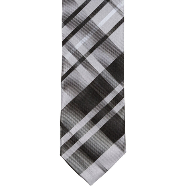 ST1 - Skinny Tie Black/Gray/White Plaid