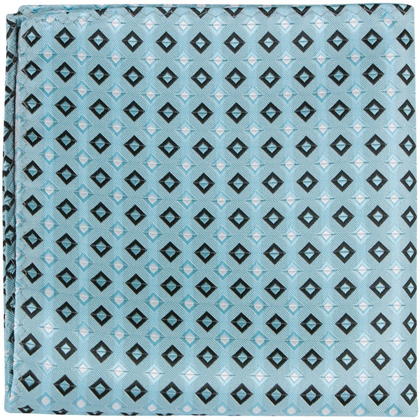 B14 PS - Blue with squares - Matching Pocket Square