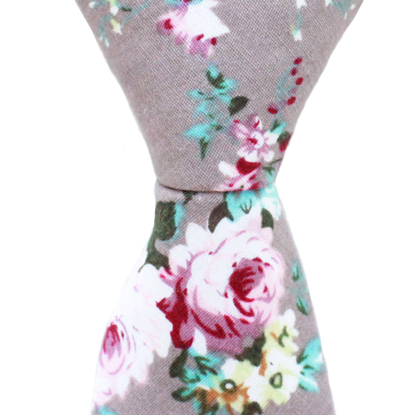 ST14 - Skinny Gray Floral Neck Tie