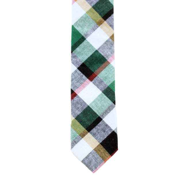 G3 - Green/White/Tan Plaid Neck Tie
