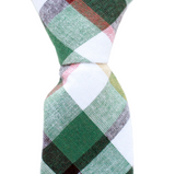 ST16 - Skinny Green/White/Tan Plaid Cotton