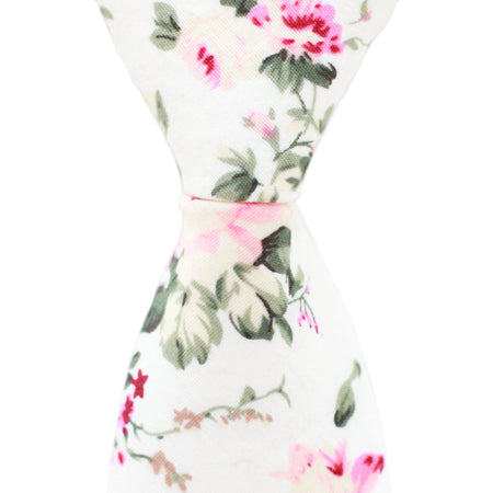 N1 - Cream Floral Neck Tie