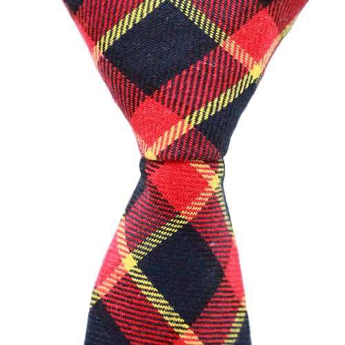 ST15 - Red/Black/Yellow Plaid Cotton - Skinny Width
