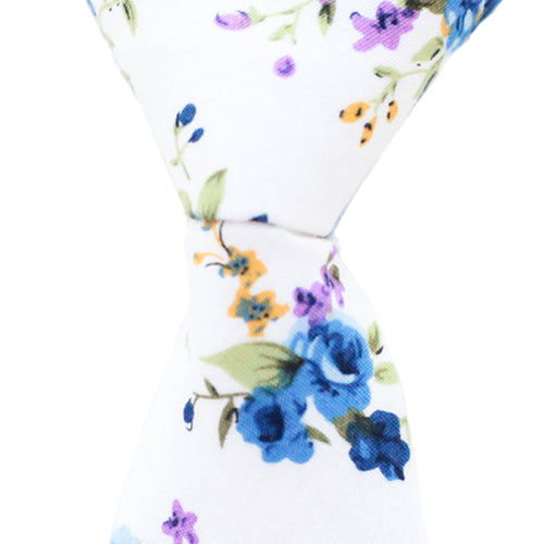 ST8 - White Floral Cotton - Skinny Width