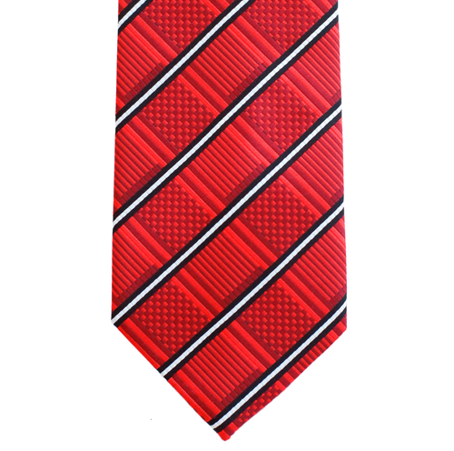 WF18 - Red Geometric with White/Black Stripe Adult - Standard Width