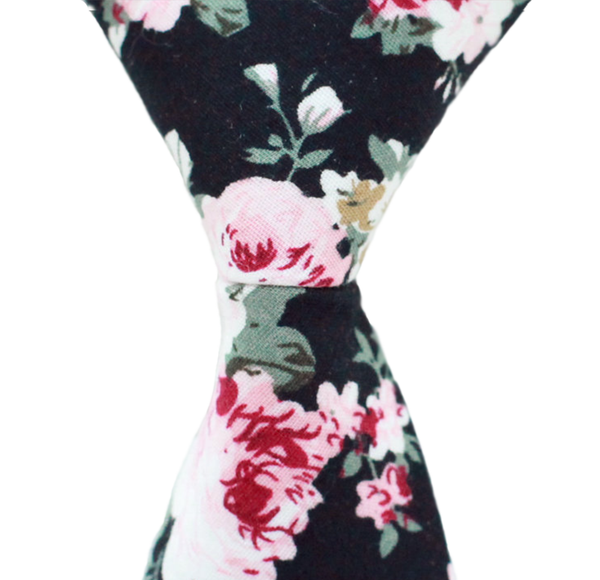 ST10 - Skinny Black Floral Cotton