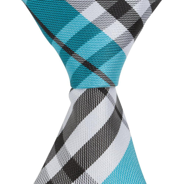 ST4 - Skinny Aqua/Black/White Plaid