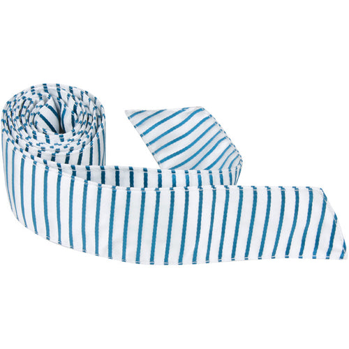 B13 HT - White with Teal Stripes - Matching Hair Tie