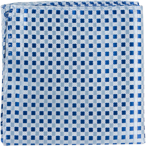 B21 PS - Blue/Silver Gingham - Matching Pocket Square