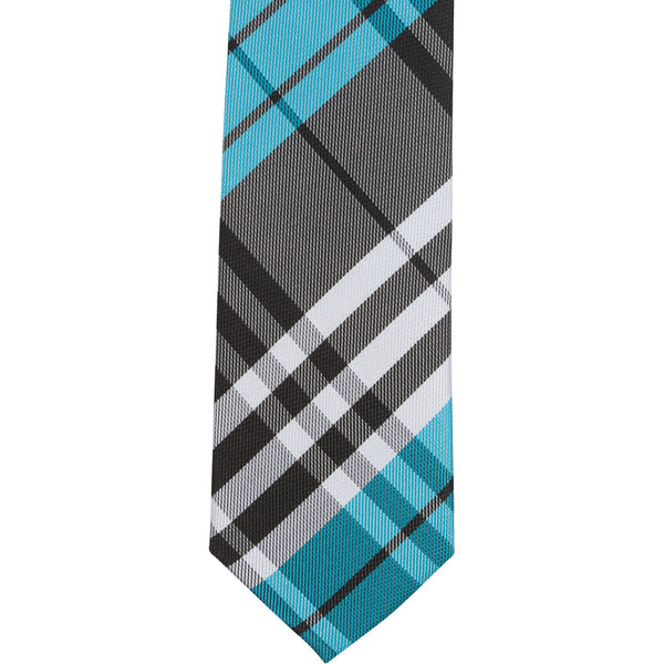 ST4 - Skinny Tie Aqua/Black/White Plaid
