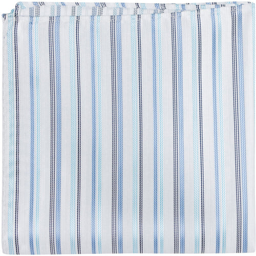 B8 PS - White with Multi Blue Stripe - Matching Pocket Square