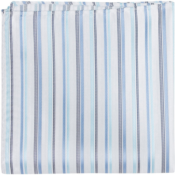 B8 PS - White with three different blue stripes - Matching Pocket Square
