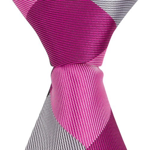 ST6 - Skinny Tie Pink/Black/White Diamond Plaid