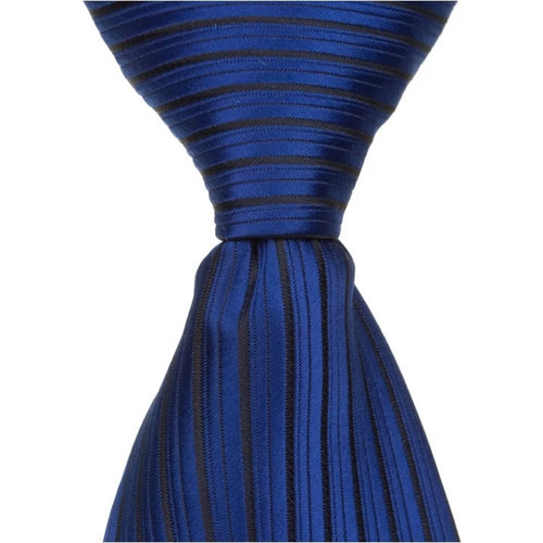 B2 - Imperial Blue w/Small Black Stripes Neck Tie