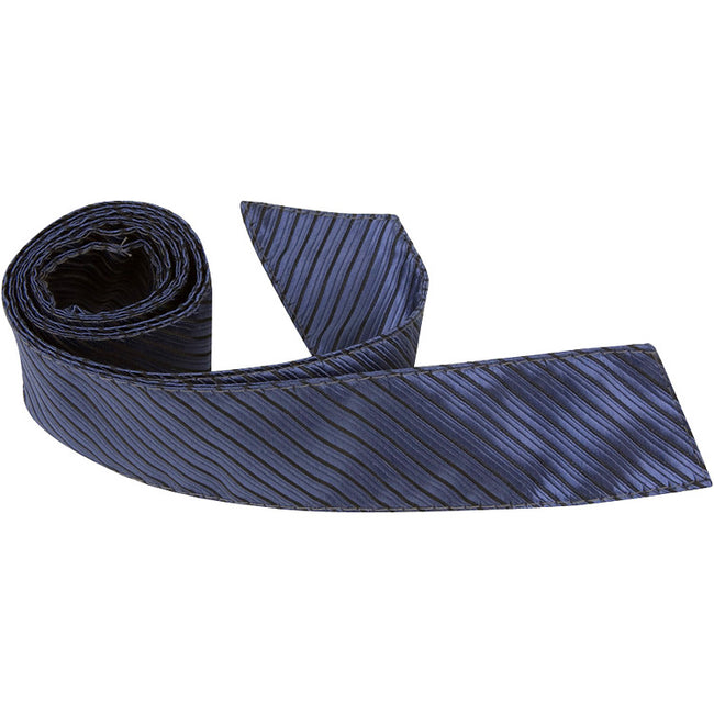 B4 - Midnight Blue w/Small Black Stripes Neck Tie