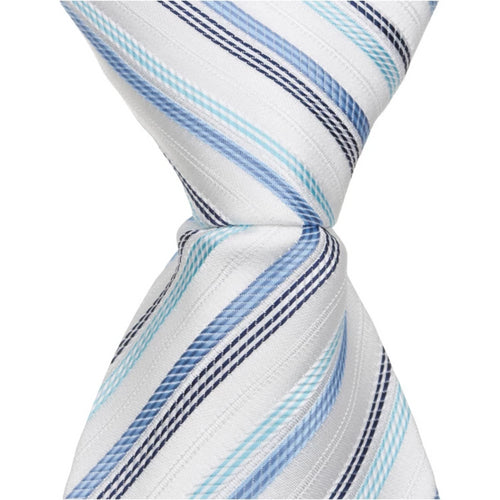 B8 - White Tie with Blue Stripes