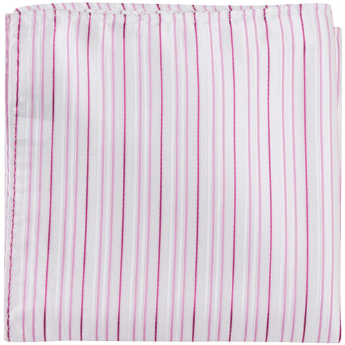 P2 PS - White with pink stripes - Matching Pocket Square