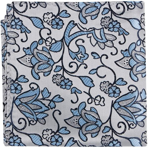 S5 PS - Silver with Blue Flowers - Matching Pocket Square