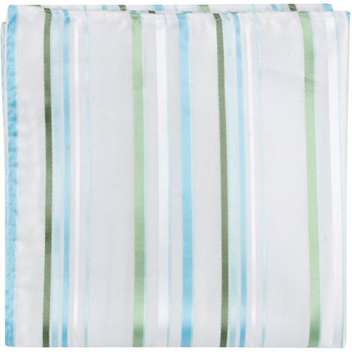W3 PS - White w/blue & green stripes - Matching Pocket Square