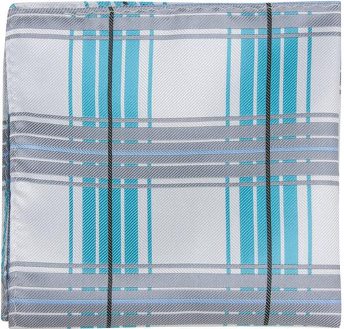 X3 PS - Blue/White/Gray Plaid - Matching Pocket Square