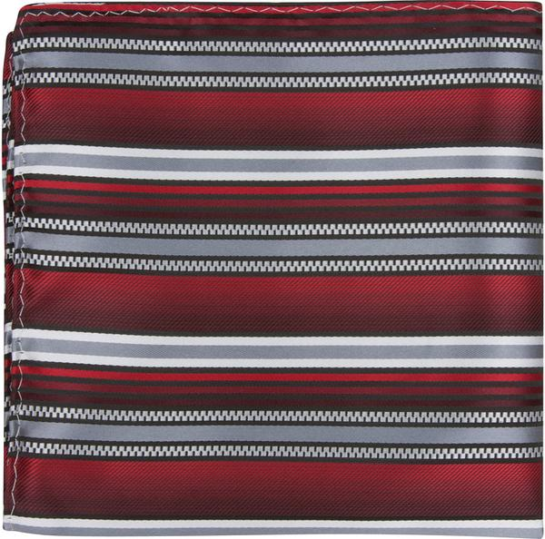 X4 PS - Red/Gray Multi Stripe - Matching Pocket Square