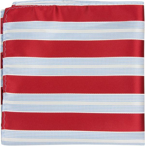 X5 PS - Red with blue and white stripes - Matching Pocket Square