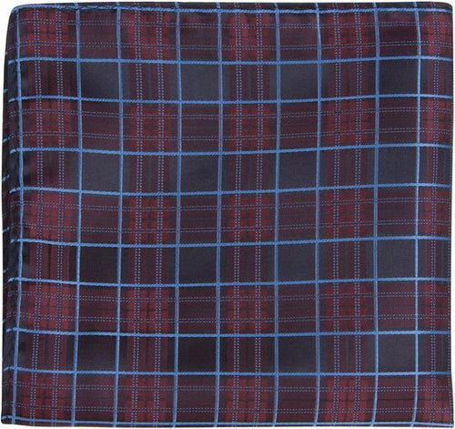 X8 PS - Navy, Maroon, Blue Plaid - Matching Pocket Square