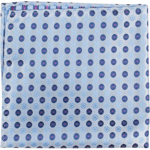 XB21 PS - Blue, with two different blue polka dots - Matching Pocket Square