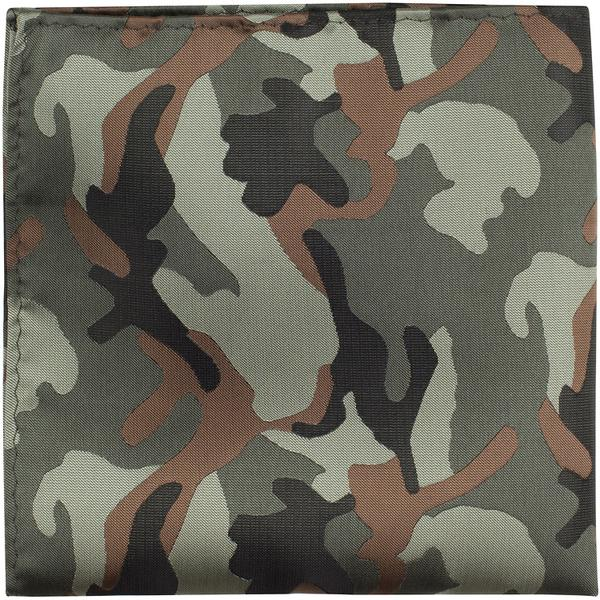 XG18 PS - Green, black, and brown camouflage - Matching Pocket Square