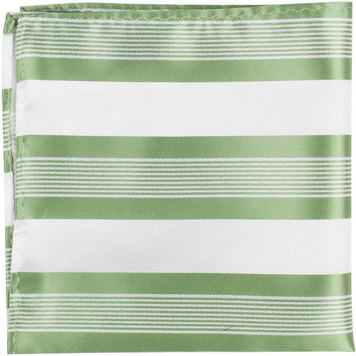 XG25 PS - White with green stripes - Matching Pocket Square