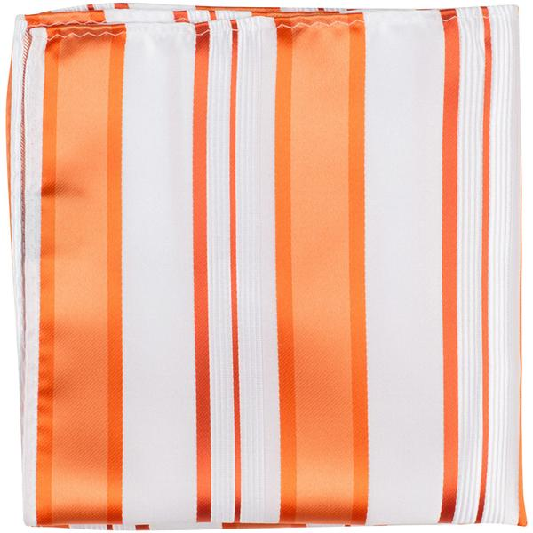 XO11 PS - White with orange stripes - Matching Pocket Square
