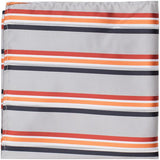XS24 PS - Grey with red, orange, white, and navy stripes - Matching Pocket Square