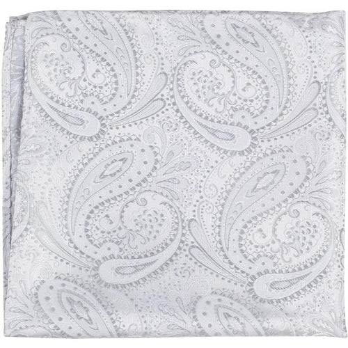 XS27 PS - White/Silver Paisley - Matching Pocket Square