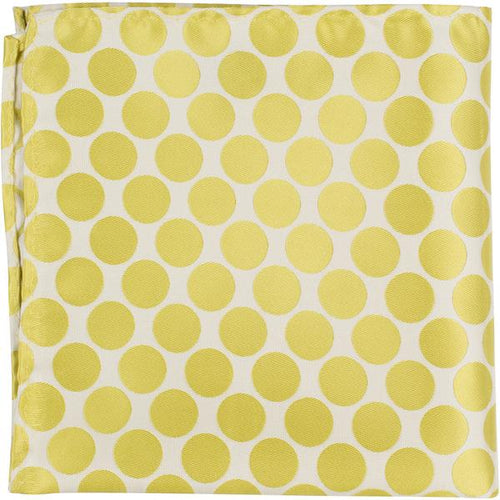 XY23 PS - White with yellow/green polka dots - Pocket Square