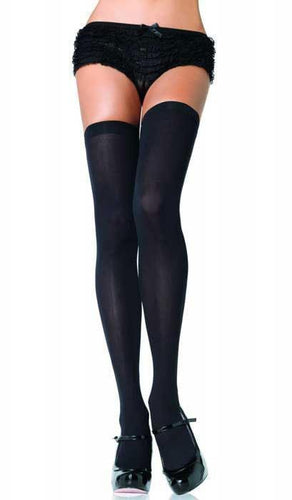 Thigh High Opaque Black Stockings